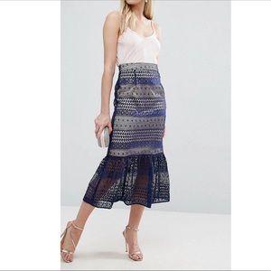 ASOS Midi Pencil Skirt w/ Lacy Overlay, Peplum Hem